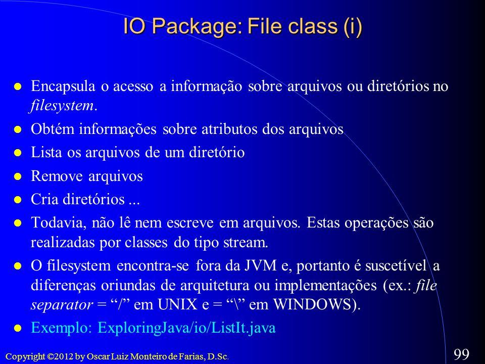 Copyright ©2012 by Oscar Luiz Monteiro de Farias, D.Sc. 99 Encapsula o acesso a informação sobre arquivos ou diretórios no filesystem. Obtém informaçõ