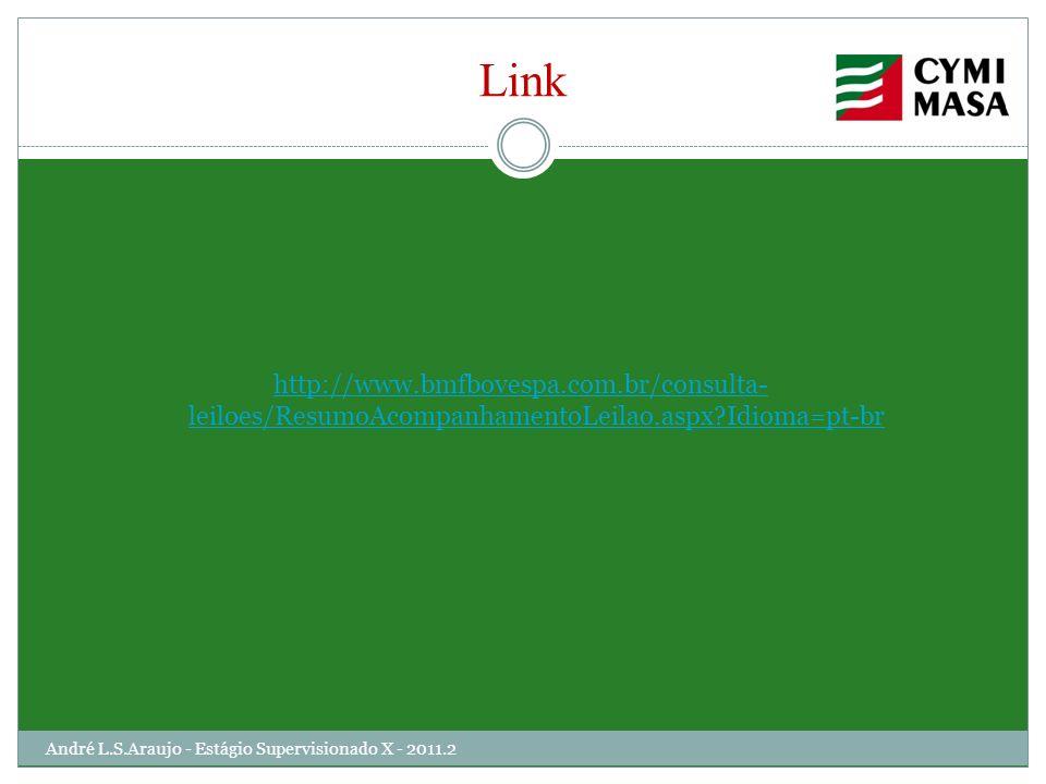 Link http://www.bmfbovespa.com.br/consulta- leiloes/ResumoAcompanhamentoLeilao.aspx?Idioma=pt-br André L.S.Araujo - Estágio Supervisionado X - 2011.2