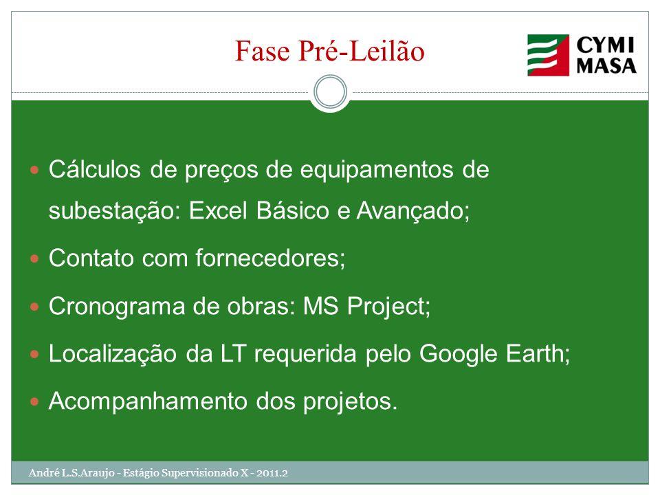 Fase Pré-Leilão Cálculos de preços de equipamentos de subestação: Excel Básico e Avançado; Contato com fornecedores; Cronograma de obras: MS Project;
