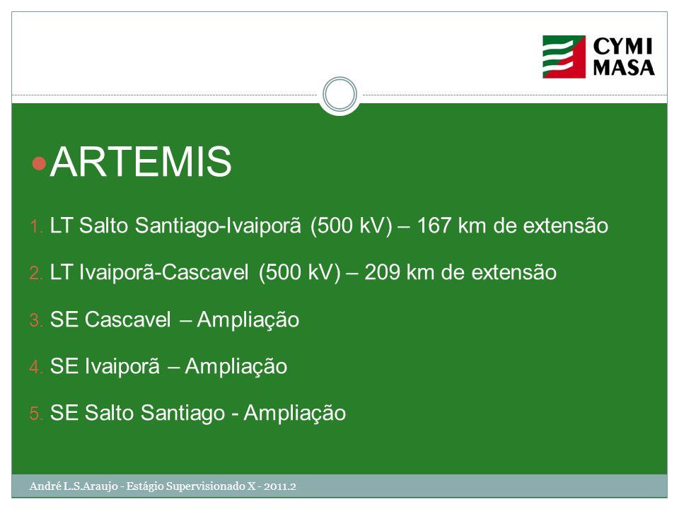 André L.S.Araujo - Estágio Supervisionado X - 2011.2 ARTEMIS 1. LT Salto Santiago-Ivaiporã (500 kV) – 167 km de extensão 2. LT Ivaiporã-Cascavel (500