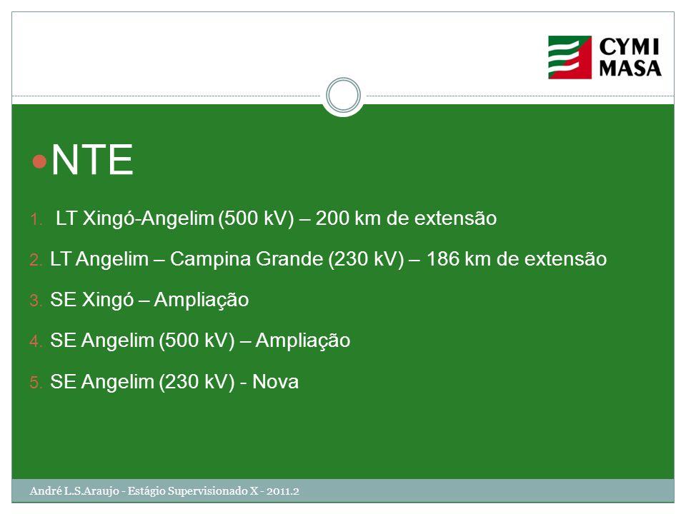 André L.S.Araujo - Estágio Supervisionado X - 2011.2 NTE 1. LT Xingó-Angelim (500 kV) – 200 km de extensão 2. LT Angelim – Campina Grande (230 kV) – 1