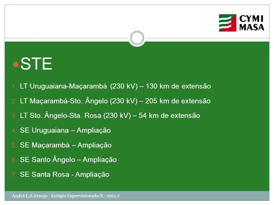 André L.S.Araujo - Estágio Supervisionado X - 2011.2 STE 1. LT Uruguaiana-Maçarambá (230 kV) – 130 km de extensão 2. LT Maçarambá-Sto. Ângelo (230 kV)
