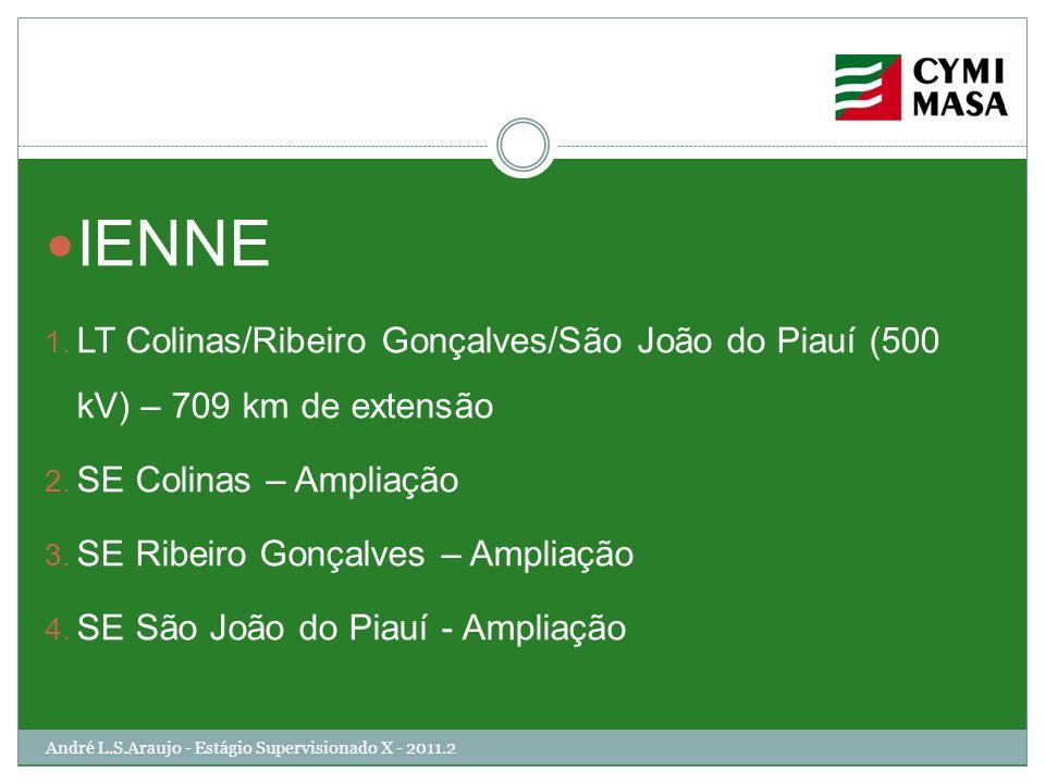 André L.S.Araujo - Estágio Supervisionado X - 2011.2 IENNE 1. LT Colinas/Ribeiro Gonçalves/São João do Piauí (500 kV) – 709 km de extensão 2. SE Colin