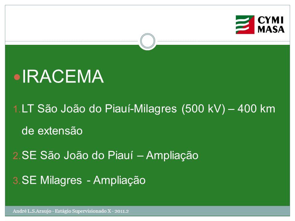 André L.S.Araujo - Estágio Supervisionado X - 2011.2 IRACEMA 1. LT São João do Piauí-Milagres (500 kV) – 400 km de extensão 2. SE São João do Piauí –