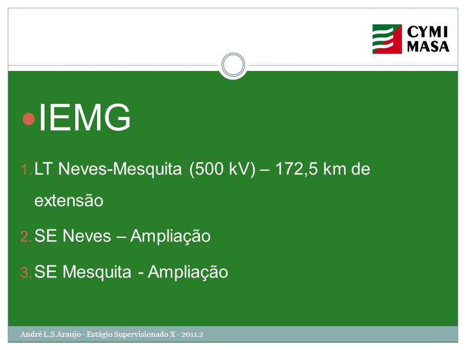 André L.S.Araujo - Estágio Supervisionado X - 2011.2 IEMG 1. LT Neves-Mesquita (500 kV) – 172,5 km de extensão 2. SE Neves – Ampliação 3. SE Mesquita
