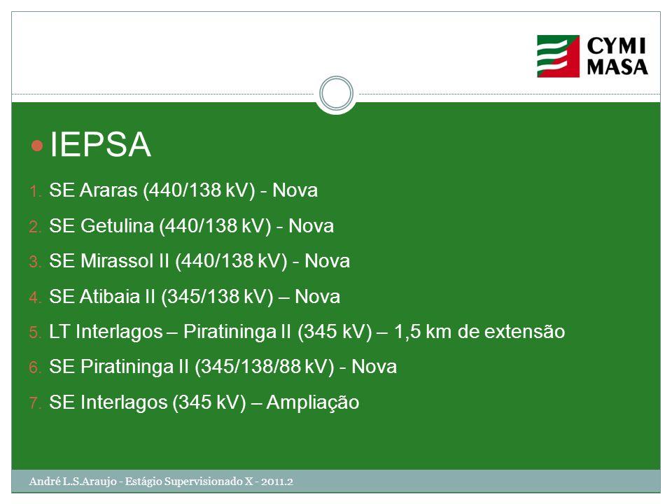 André L.S.Araujo - Estágio Supervisionado X - 2011.2 IEPSA 1. SE Araras (440/138 kV) - Nova 2. SE Getulina (440/138 kV) - Nova 3. SE Mirassol II (440/