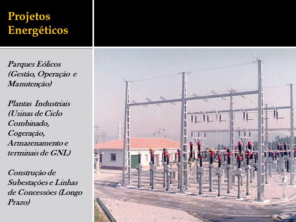 Projetos Energéticos Parques Eólicos (Gestão, Operação e Manutenção) Plantas Industriais (Usinas de Ciclo Combinado, Cogeração, Armazenamento e terminais de GNL) Construção de Subestações e Linhas de Concessões (Longo Prazo)