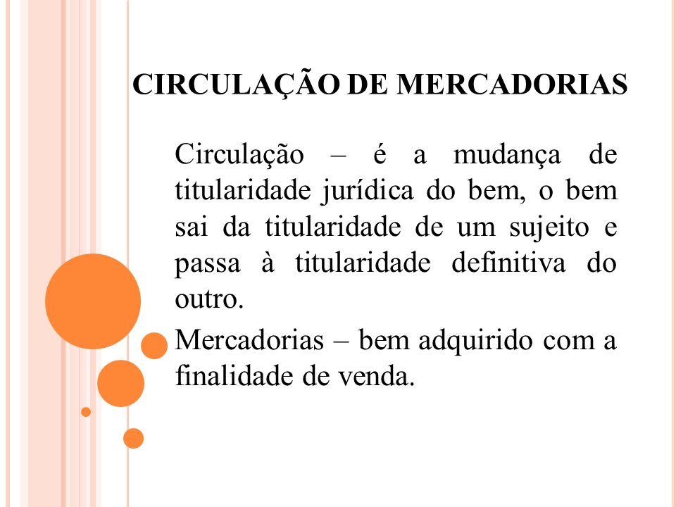 CIRCULAÇÃO DE MERCADORIAS Circulação – é a mudança de titularidade jurídica do bem, o bem sai da titularidade de um sujeito e passa à titularidade def