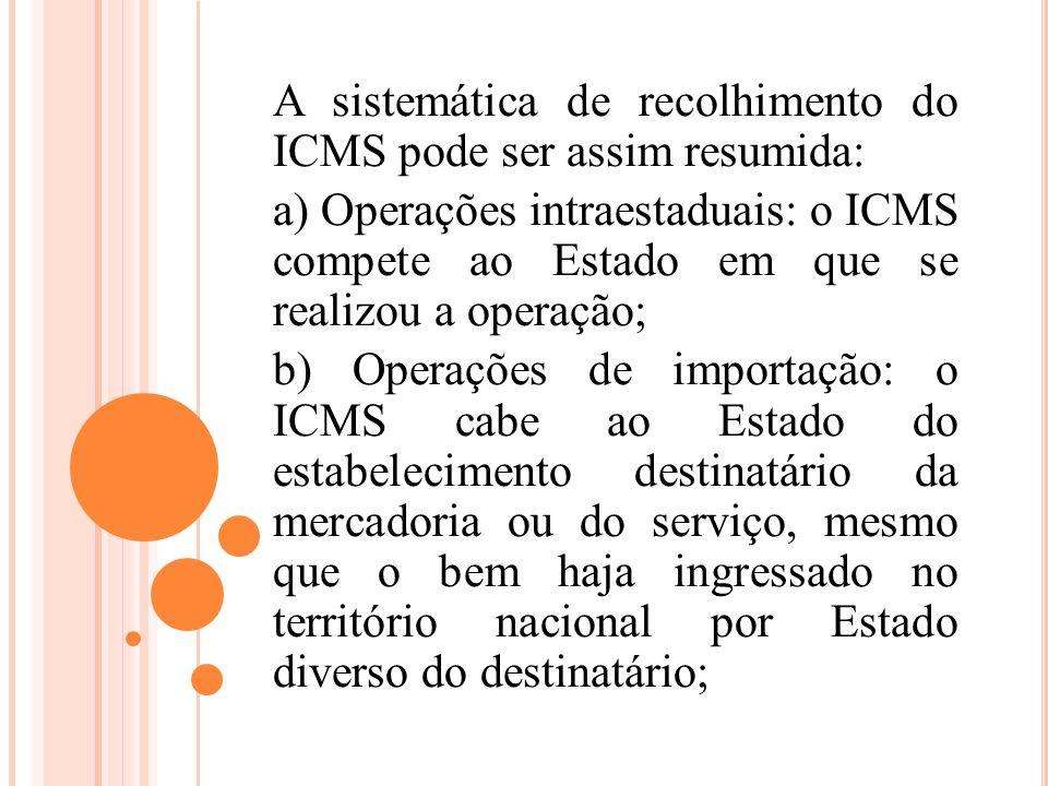 A sistemática de recolhimento do ICMS pode ser assim resumida: a) Operações intraestaduais: o ICMS compete ao Estado em que se realizou a operação; b)