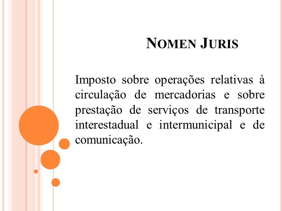 N OMEN J URIS Imposto sobre operações relativas à circulação de mercadorias e sobre prestação de serviços de transporte interestadual e intermunicipal