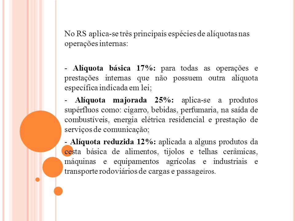 No RS aplica-se três principais espécies de alíquotas nas operações internas: - Alíquota básica 17%: para todas as operações e prestações internas que