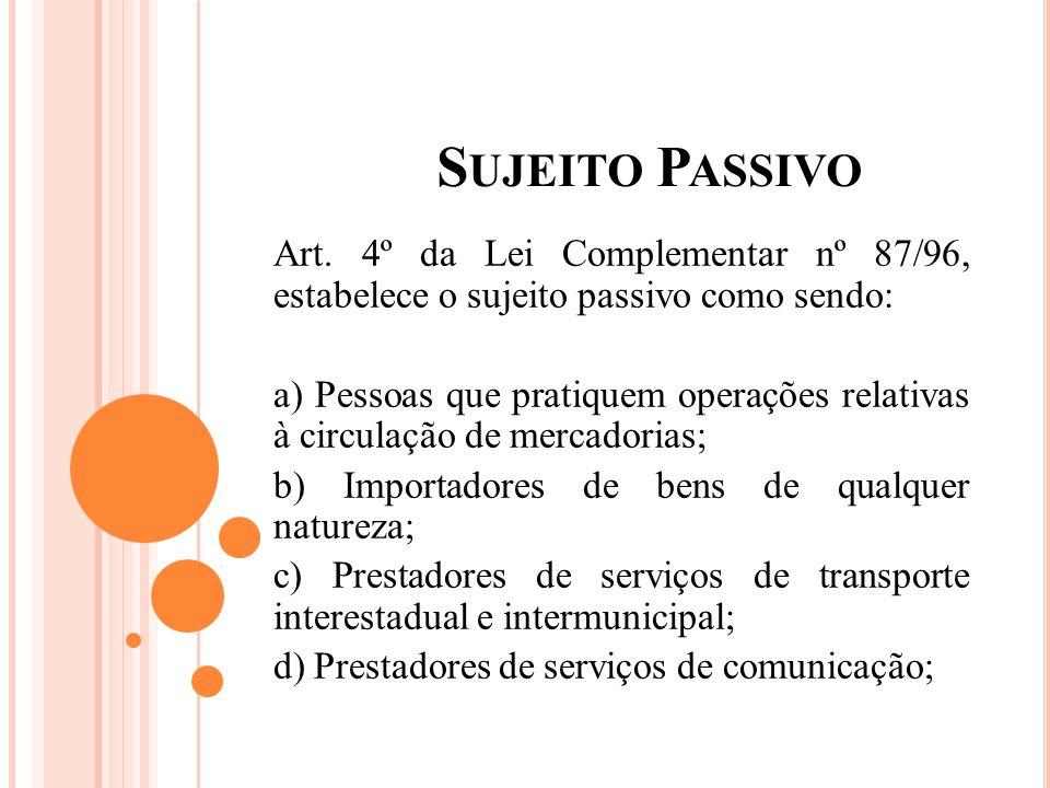 S UJEITO P ASSIVO Art. 4º da Lei Complementar nº 87/96, estabelece o sujeito passivo como sendo: a) Pessoas que pratiquem operações relativas à circul