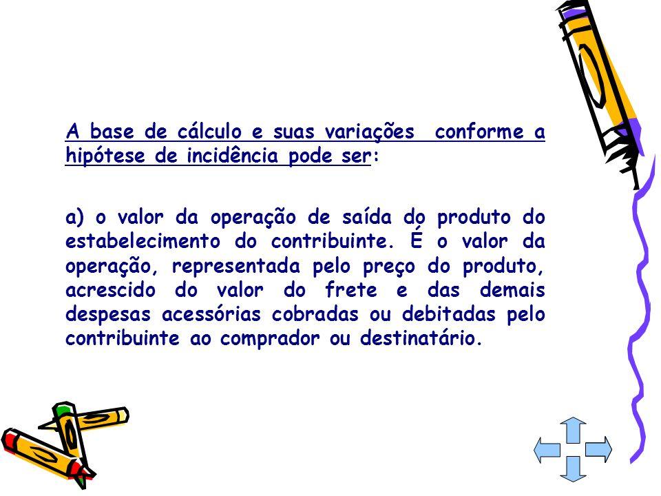 A base de cálculo e suas variações conforme a hipótese de incidência pode ser: a) o valor da operação de saída do produto do estabelecimento do contri