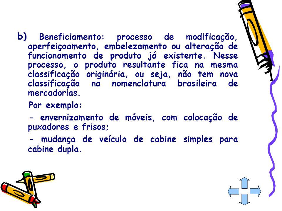 b) Beneficiamento: processo de modificação, aperfeiçoamento, embelezamento ou alteração de funcionamento de produto já existente. Nesse processo, o pr