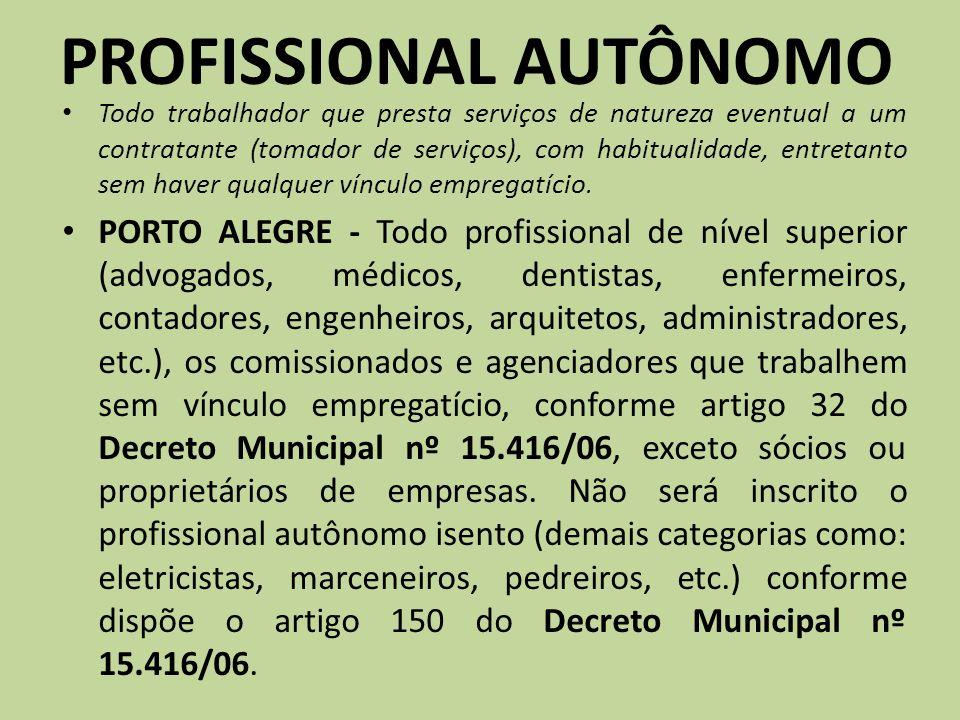 PROFISSIONAL AUTÔNOMO Todo trabalhador que presta serviços de natureza eventual a um contratante (tomador de serviços), com habitualidade, entretanto
