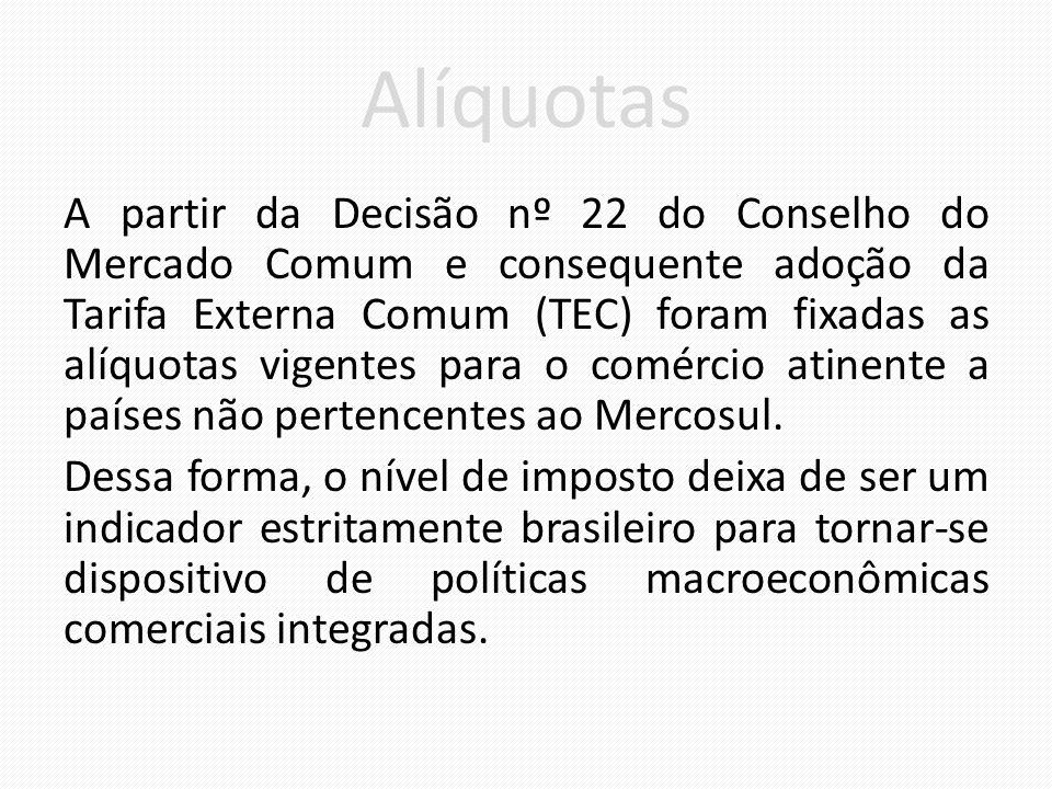 Alíquotas A partir da Decisão nº 22 do Conselho do Mercado Comum e consequente adoção da Tarifa Externa Comum (TEC) foram fixadas as alíquotas vigentes para o comércio atinente a países não pertencentes ao Mercosul.