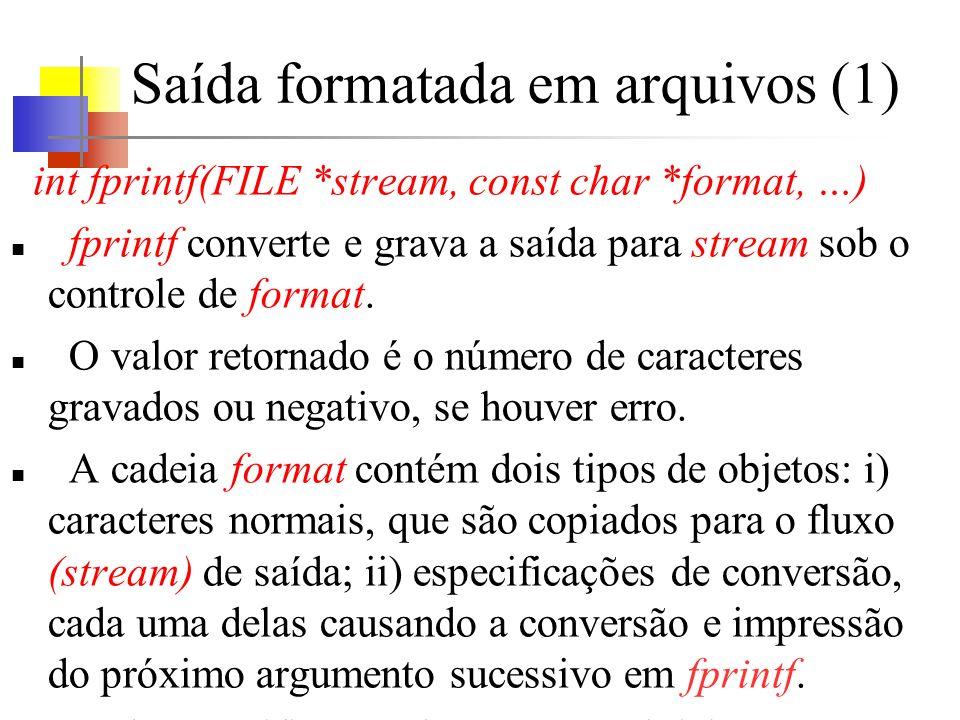 Saída formatada em arquivos (1) int fprintf(FILE *stream, const char *format, …) fprintf converte e grava a saída para stream sob o controle de format.