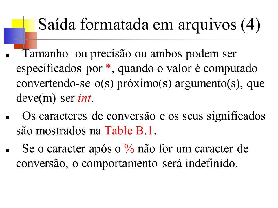 Saída formatada em arquivos (4) Tamanho ou precisão ou ambos podem ser especificados por *, quando o valor é computado convertendo-se o(s) próximo(s) argumento(s), que deve(m) ser int.
