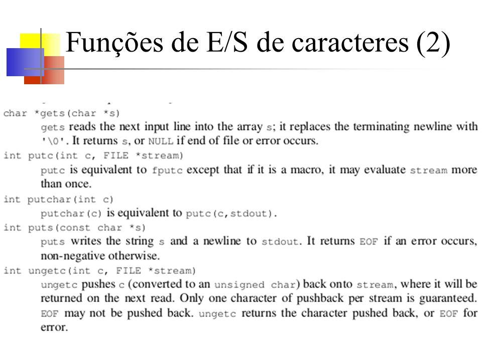 Funções de E/S de caracteres (2)