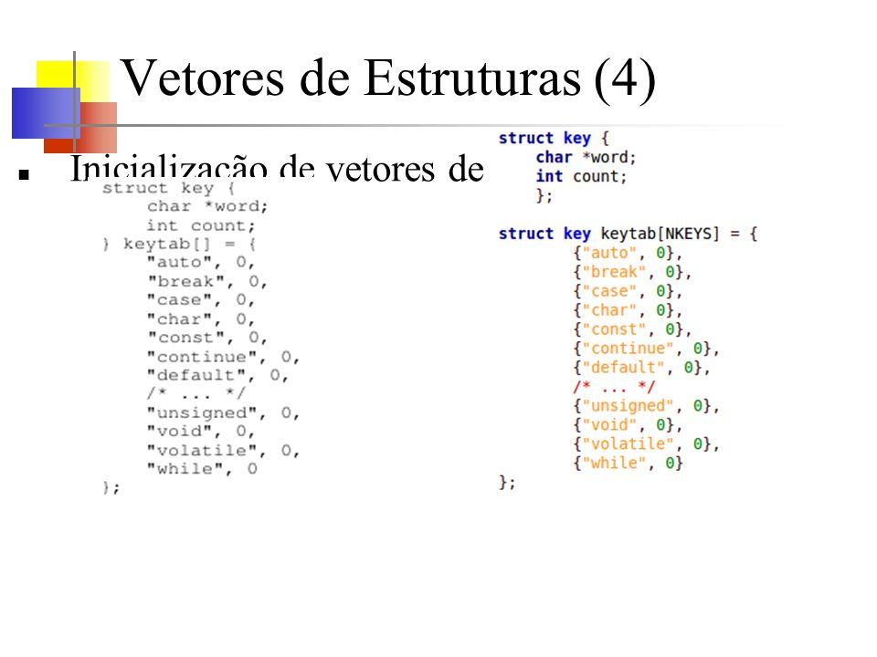 Vetores de Estruturas (4) Inicialização de vetores de estruturas: As chaves internas não são necessárias quando os inicializadores são variáveis simples ou cadeias de caracteres e quando todos estão presentes.