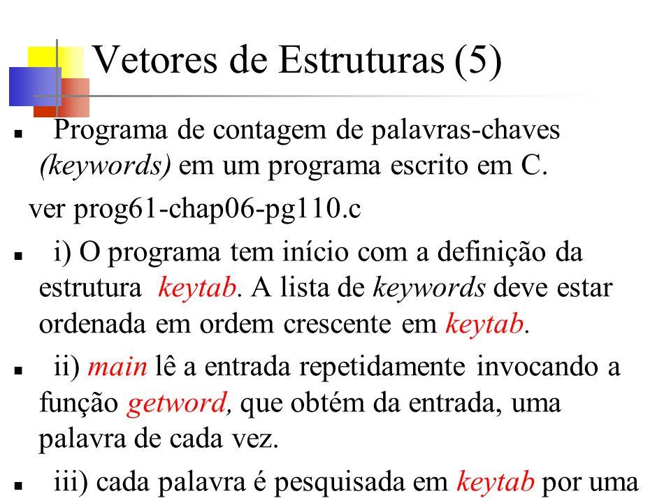 Vetores de Estruturas (5) Programa de contagem de palavras-chaves (keywords) em um programa escrito em C. ver prog61-chap06-pg110.c i) O programa tem