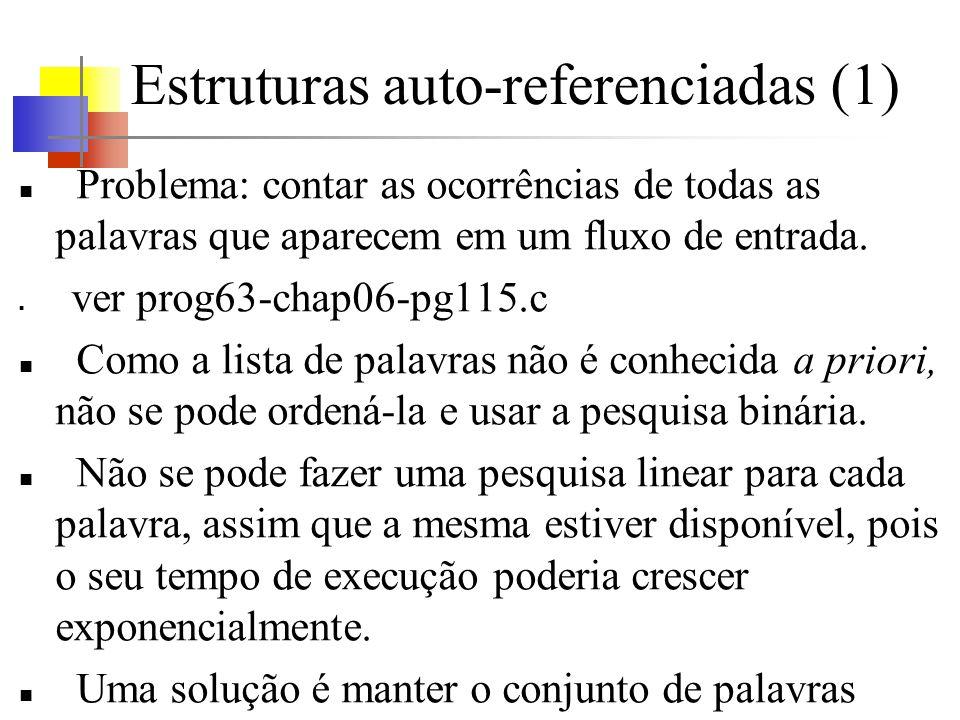 Estruturas auto-referenciadas (1) Problema: contar as ocorrências de todas as palavras que aparecem em um fluxo de entrada.