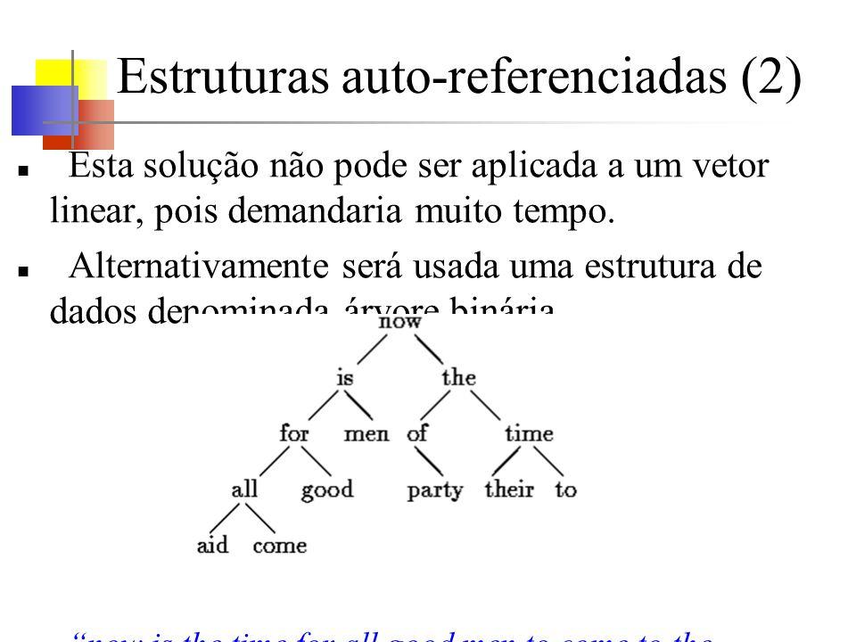 Estruturas auto-referenciadas (2) Esta solução não pode ser aplicada a um vetor linear, pois demandaria muito tempo. Alternativamente será usada uma e
