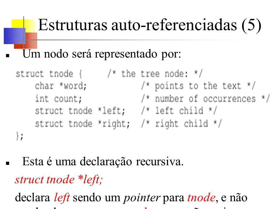 Estruturas auto-referenciadas (5) Um nodo será representado por: Esta é uma declaração recursiva. struct tnode *left; declara left sendo um pointer pa