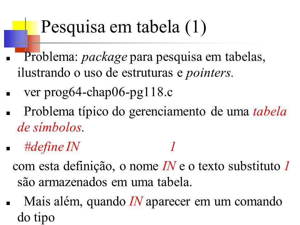 Pesquisa em tabela (1) Problema: package para pesquisa em tabelas, ilustrando o uso de estruturas e pointers. ver prog64-chap06-pg118.c Problema típic