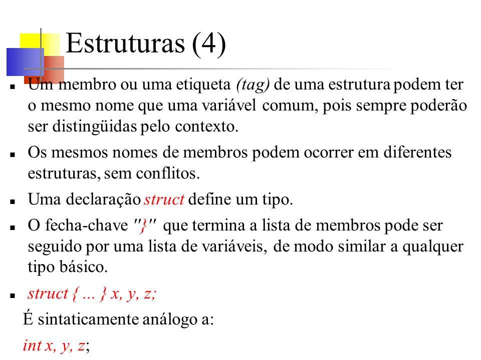 Estruturas (4) Um membro ou uma etiqueta (tag) de uma estrutura podem ter o mesmo nome que uma variável comum, pois sempre poderão ser distingüidas pelo contexto.