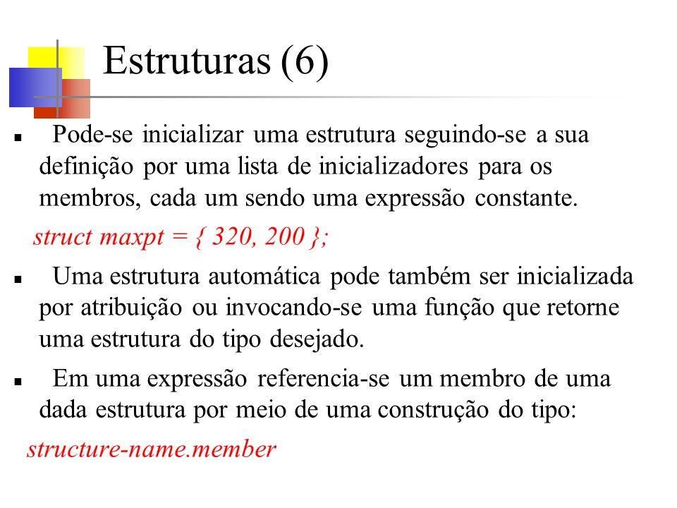 Estruturas (6) Pode-se inicializar uma estrutura seguindo-se a sua definição por uma lista de inicializadores para os membros, cada um sendo uma expressão constante.