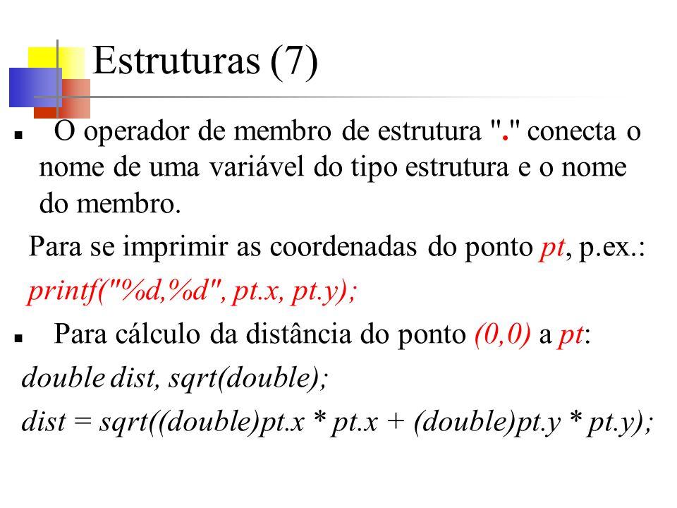Estruturas (7) O operador de membro de estrutura . conecta o nome de uma variável do tipo estrutura e o nome do membro.