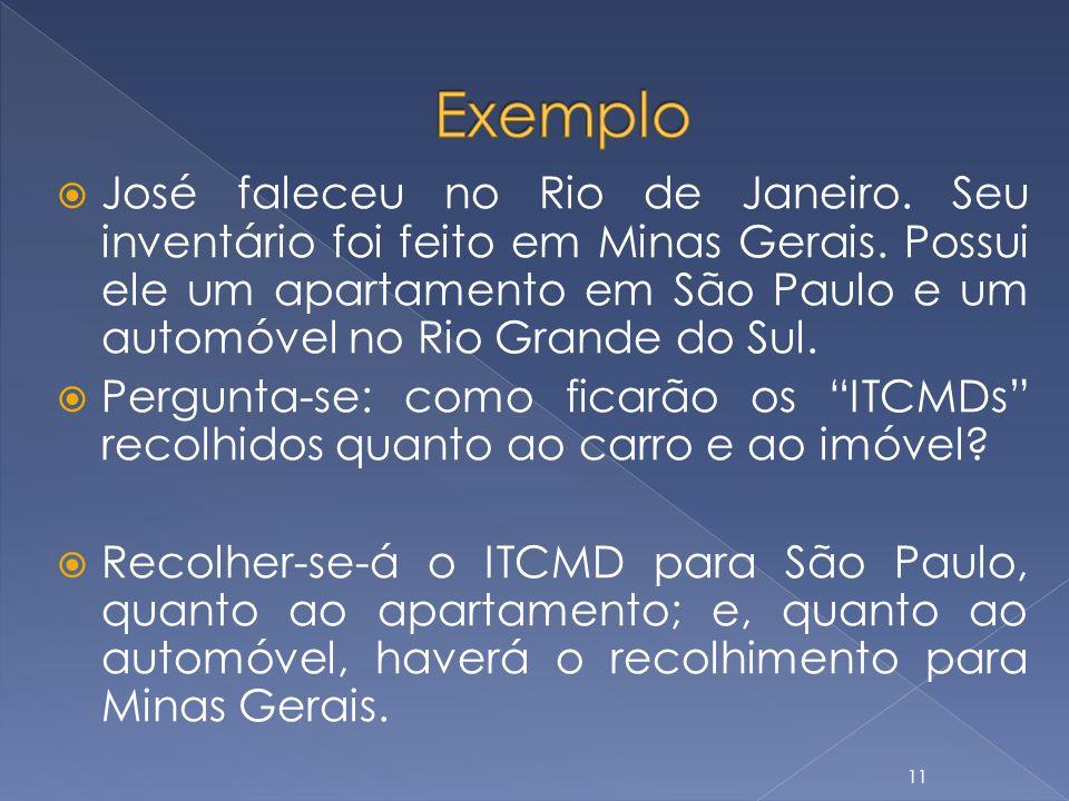 José faleceu no Rio de Janeiro. Seu inventário foi feito em Minas Gerais. Possui ele um apartamento em São Paulo e um automóvel no Rio Grande do Sul.