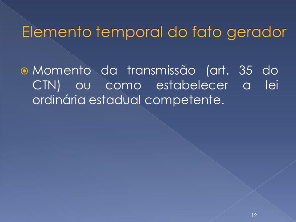 Momento da transmissão (art. 35 do CTN) ou como estabelecer a lei ordinária estadual competente. 12
