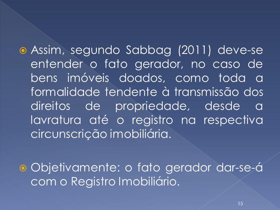 Assim, segundo Sabbag (2011) deve-se entender o fato gerador, no caso de bens imóveis doados, como toda a formalidade tendente à transmissão dos direi