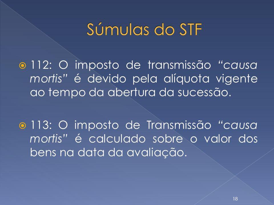 112: O imposto de transmissão causa mortis é devido pela alíquota vigente ao tempo da abertura da sucessão. 113: O imposto de Transmissão causa mortis