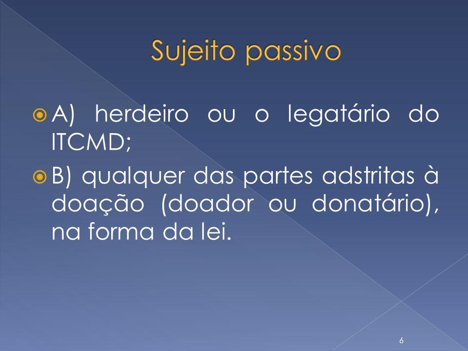 A) herdeiro ou o legatário do ITCMD; B) qualquer das partes adstritas à doação (doador ou donatário), na forma da lei. 6