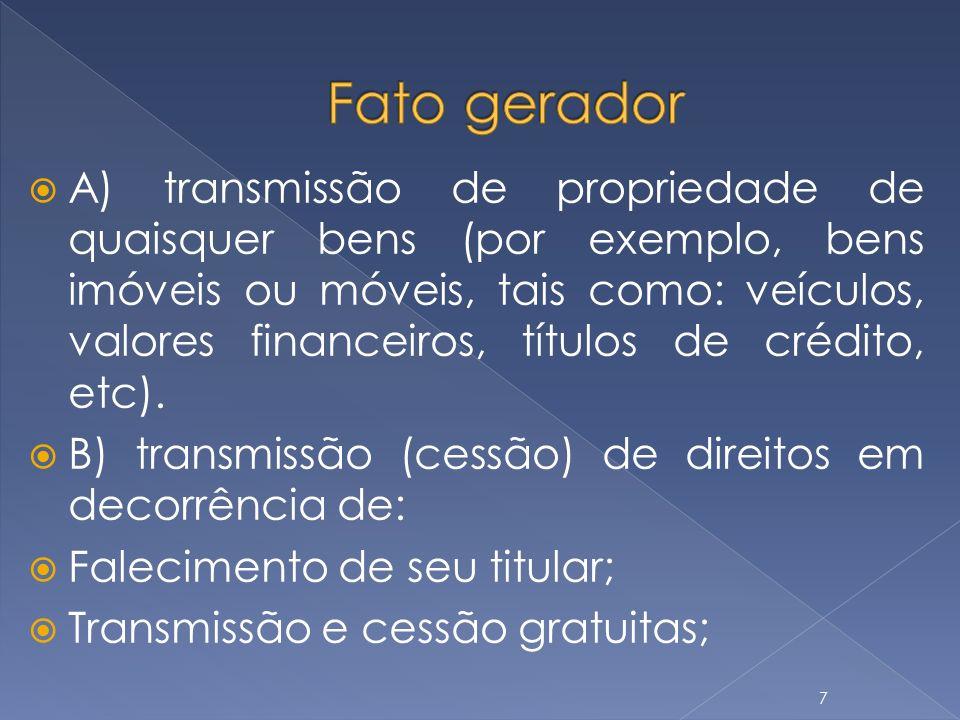 A) transmissão de propriedade de quaisquer bens (por exemplo, bens imóveis ou móveis, tais como: veículos, valores financeiros, títulos de crédito, et