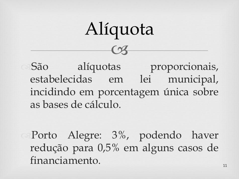 São alíquotas proporcionais, estabelecidas em lei municipal, incidindo em porcentagem única sobre as bases de cálculo. Porto Alegre: 3%, podendo haver