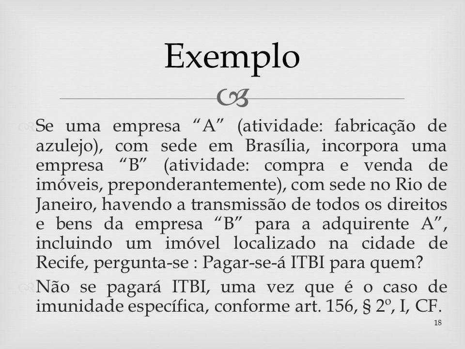 Se uma empresa A (atividade: fabricação de azulejo), com sede em Brasília, incorpora uma empresa B (atividade: compra e venda de imóveis, preponderant
