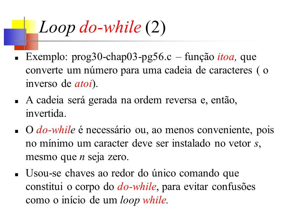 Loop do-while (2) Exemplo: prog30-chap03-pg56.c – função itoa, que converte um número para uma cadeia de caracteres ( o inverso de atoi).