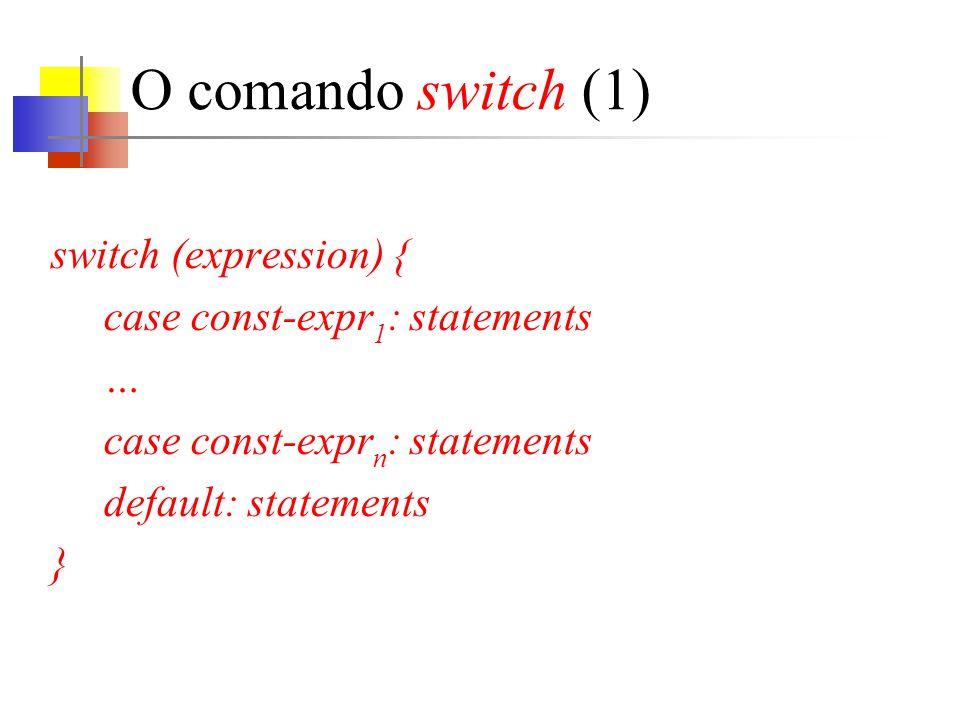 goto e labels (4) Código alternativo sem o uso do goto.