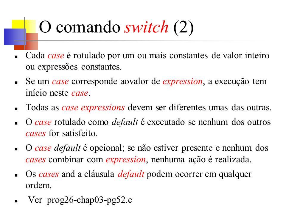 O comando switch (2) Cada case é rotulado por um ou mais constantes de valor inteiro ou expressões constantes.