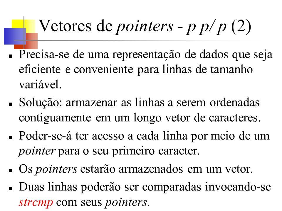 Vetores de pointers - p p/ p (2) Precisa-se de uma representação de dados que seja eficiente e conveniente para linhas de tamanho variável. Solução: a
