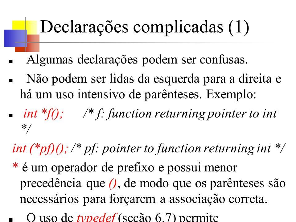 Declarações complicadas (1) Algumas declarações podem ser confusas. Não podem ser lidas da esquerda para a direita e há um uso intensivo de parênteses