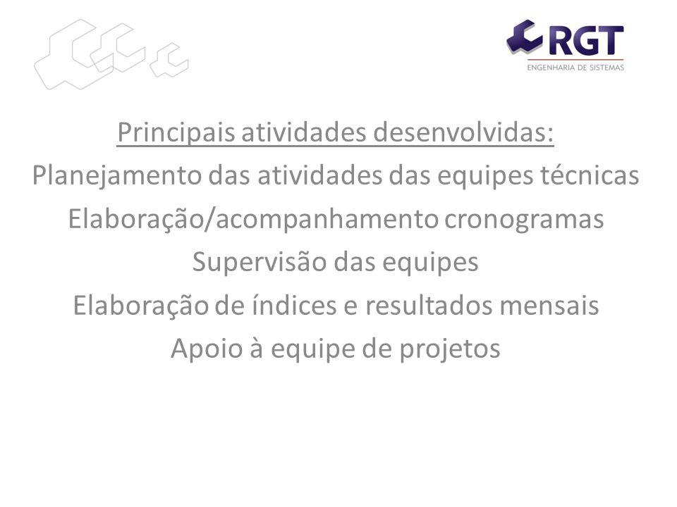 Principais atividades desenvolvidas: Planejamento das atividades das equipes técnicas Elaboração/acompanhamento cronogramas Supervisão das equipes Ela