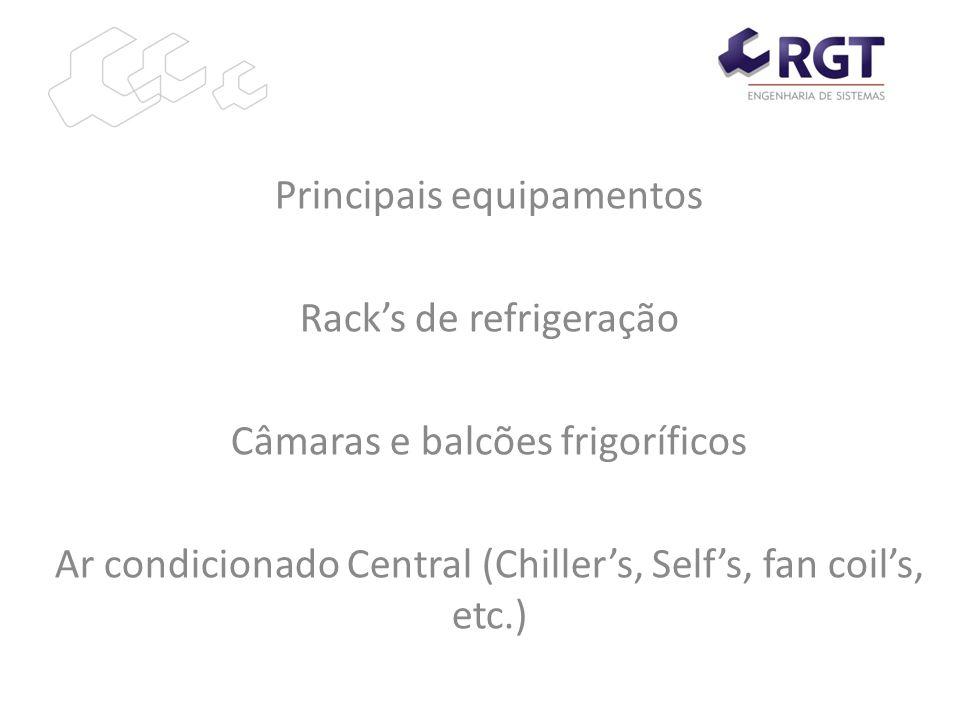 Principais equipamentos Racks de refrigeração Câmaras e balcões frigoríficos Ar condicionado Central (Chillers, Selfs, fan coils, etc.)