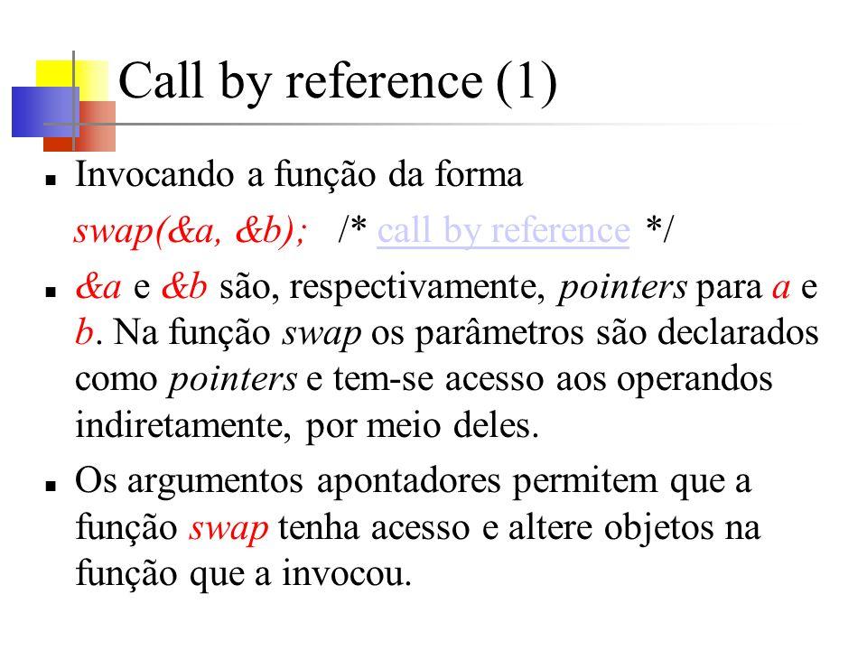 Call by reference (1) Invocando a função da forma swap(&a, &b); /* call by reference */call by reference &a e &b são, respectivamente, pointers para a e b.