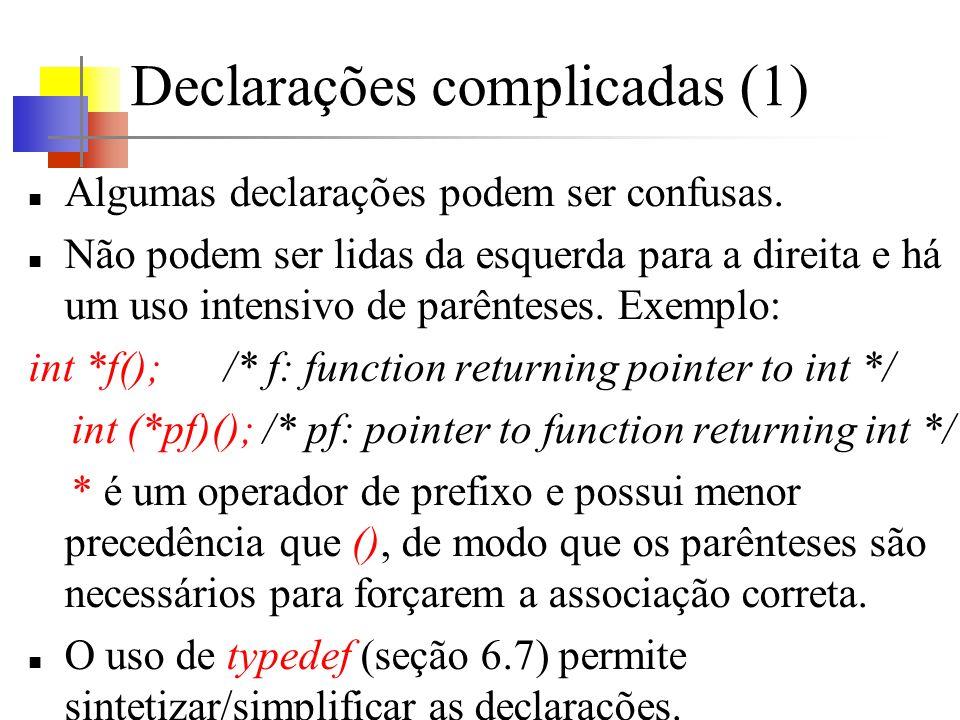 Declarações complicadas (1) Algumas declarações podem ser confusas.