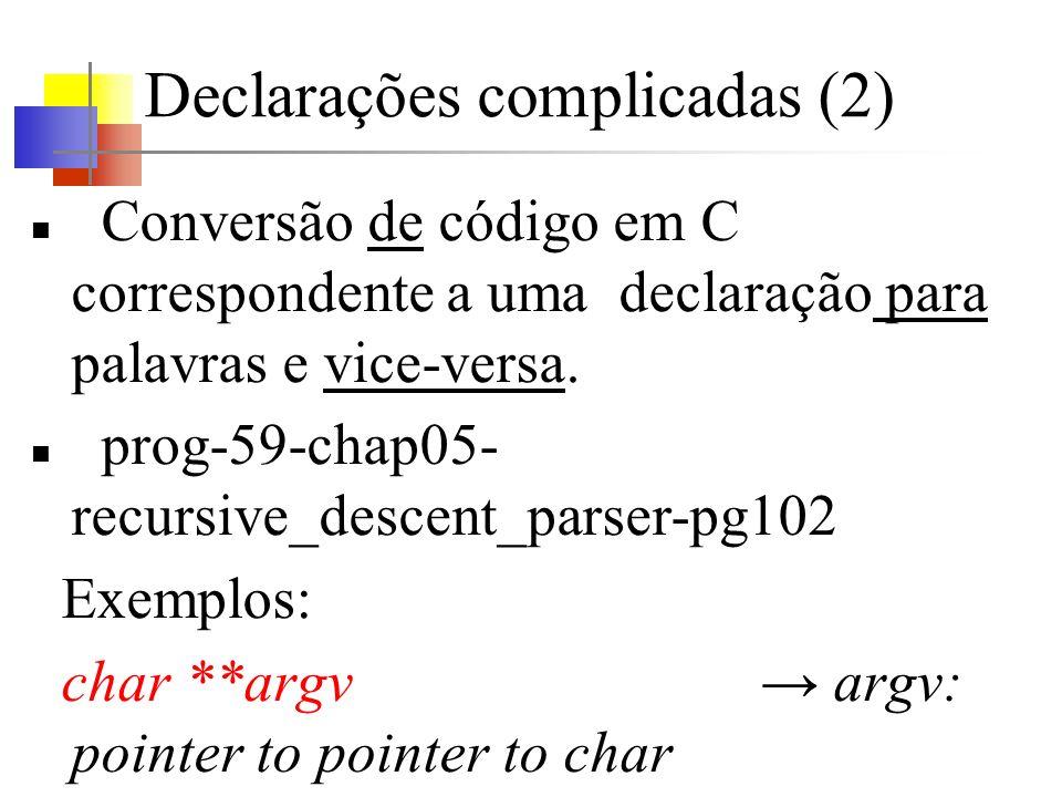 Declarações complicadas (2) Conversão de código em C correspondente a uma declaração para palavras e vice-versa.